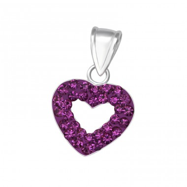 Heart - 925 Sterling Silver Pendants with Zirconia stones A4S10479