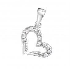 Heart - 925 Sterling Silver Pendants with Zirconia stones A4S11527
