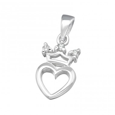 Crowned Heart - 925 Sterling Silver Pendants with Zirconia stones A4S11536