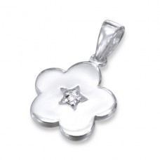 Flower - 925 Sterling Silver Pendants with Zirconia stones A4S11603