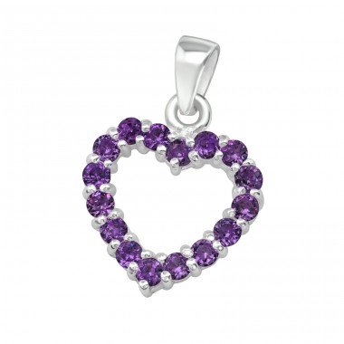 Heart - 925 Sterling Silver Pendants with Zirconia stones A4S13071