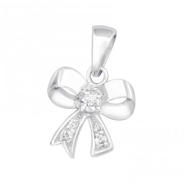 Bow - 925 Sterling Silver Pendants with Zirconia stones A4S15178