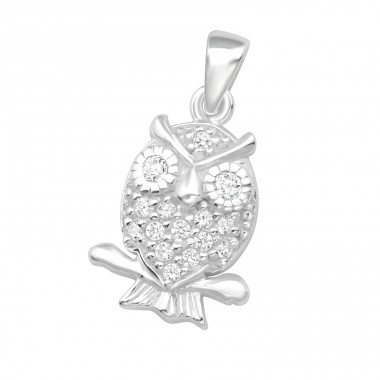 Owl - 925 Sterling Silver Pendants with Zirconia stones A4S15834