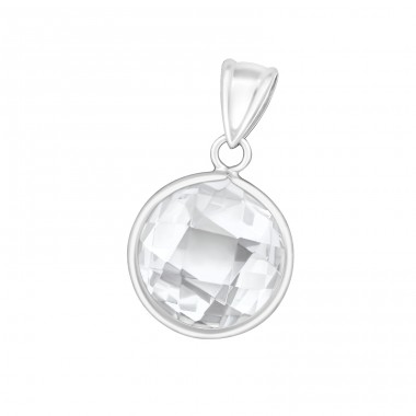 Round - 925 Sterling Silver Pendants with Zirconia stones A4S16196