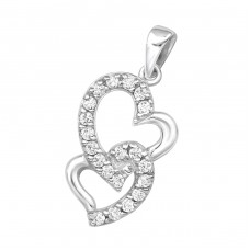 Double Heart - 925 Sterling Silver Pendants with Zirconia stones A4S16200