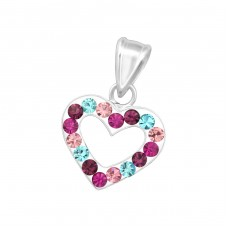 Heart - 925 Sterling Silver Pendants with Zirconia stones A4S16576