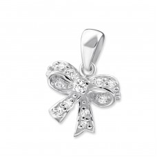Bow - 925 Sterling Silver Pendants with Zirconia stones A4S16733