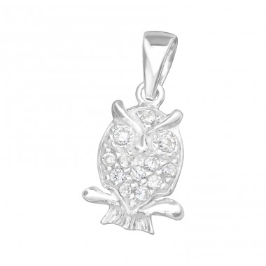 Owl - 925 Sterling Silver Pendants with Zirconia stones A4S16815