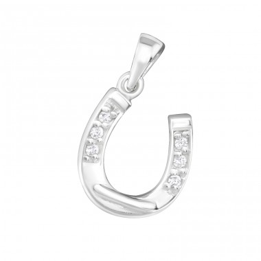 Horseshoe - 925 Sterling Silver Pendants with Zirconia stones A4S18048