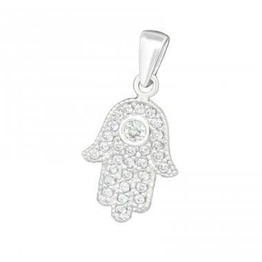 Hamsa Hand - 925 Sterling Silver Pendants with Zirconia stones A4S18059