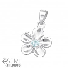 Flower - 925 Sterling Silver Pendants with Zirconia stones A4S18207
