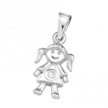 Girl - 925 Sterling Silver Pendants with Zirconia stones A4S18764
