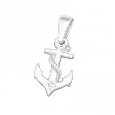 Anchor - 925 Sterling Silver Pendants with Zirconia stones A4S19165