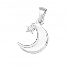 Crescent Moon - 925 Sterling Silver Pendants with Zirconia stones A4S19365