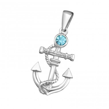 Anchor - 925 Sterling Silver Pendants with Zirconia stones A4S19366