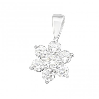 Flower - 925 Sterling Silver Pendants with Zirconia stones A4S19824