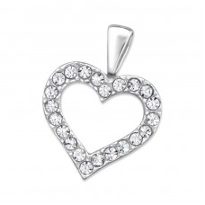 Open Heart - 925 Sterling Silver Pendants with Zirconia stones A4S20336