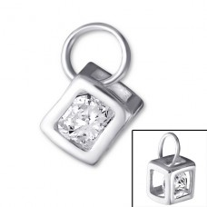 Square - 925 Sterling Silver Pendants with Zirconia stones A4S20511