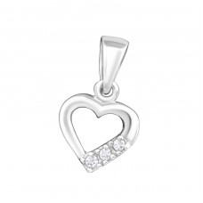 Heart - 925 Sterling Silver Pendants with Zirconia stones A4S20682
