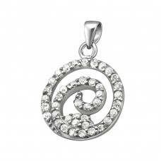 Spiral - 925 Sterling Silver Pendants with Zirconia stones A4S21212