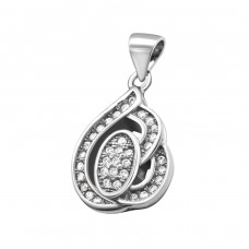 Leaf - 925 Sterling Silver Pendants with Zirconia stones A4S21214