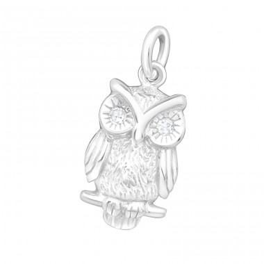 Owl - 925 Sterling Silver Pendants with Zirconia stones A4S22263