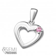 Heart - 925 Sterling Silver Pendants with Zirconia stones A4S2418