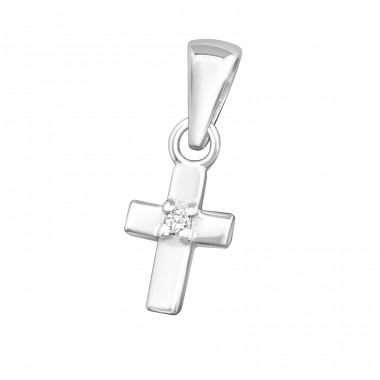 Cross - 925 Sterling Silver Pendants With Zirconia Stones A4S24953