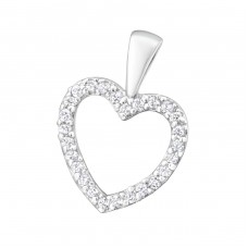 Heart - 925 Sterling Silver Pendants With Zirconia Stones A4S25687