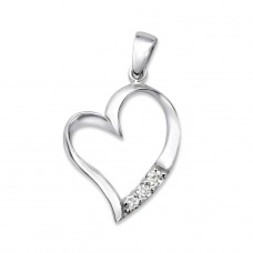 Heart - 925 Sterling Silver Pendants With Zirconia Stones A4S25692