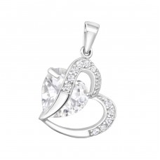 Hearts - 925 Sterling Silver Pendants with Zirconia stones A4S25693
