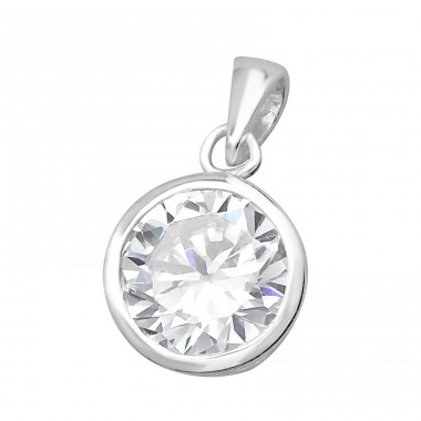 Round - 925 Sterling Silver Pendants with Zirconia stones A4S27779