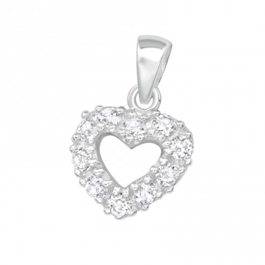 Heart - 925 Sterling Silver Pendants with Zirconia stones A4S3125