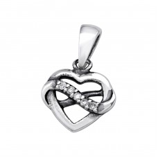 Heart - 925 Sterling Silver Pendants with Zirconia stones A4S32099
