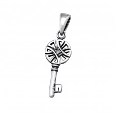 Key - 925 Sterling Silver Pendants with Zirconia stones A4S32101