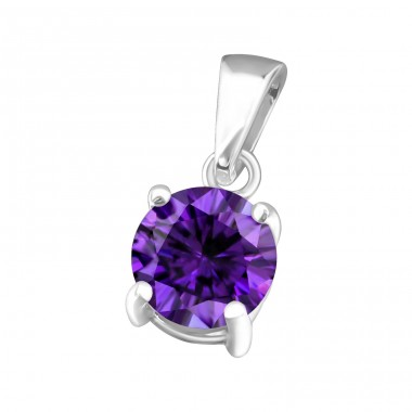 Round 6mm - 925 Sterling Silver Pendants with Zirconia stones A4S33212