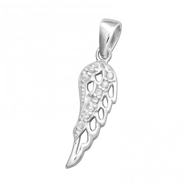Wing - 925 Sterling Silver Pendants with Zirconia stones A4S33424