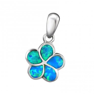 Flower Opal - 925 Sterling Silver Pendants with Zirconia stones A4S34303