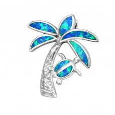 Palm Tree Opal - 925 Sterling Silver Pendants with Zirconia stones A4S34304