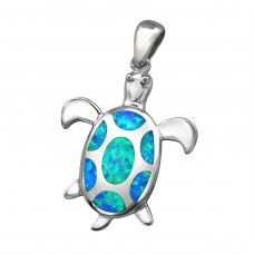 Turtle Opal - 925 Sterling Silver Pendants with Zirconia stones A4S34308