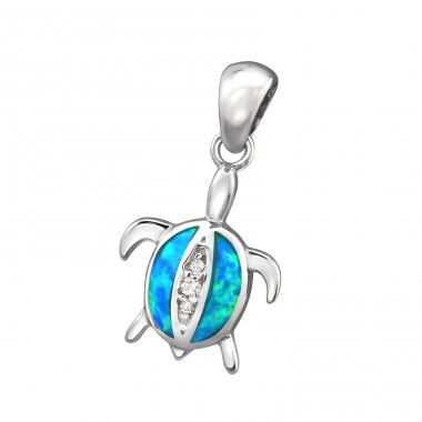 Turtle Opal - 925 Sterling Silver Pendants with Zirconia stones A4S34309