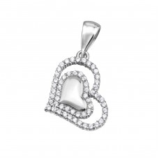 Heart - 925 Sterling Silver Pendants with Zirconia stones A4S34333