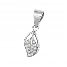 Leaf - 925 Sterling Silver Pendants with Zirconia stones A4S34446