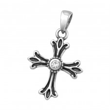 Cross - 925 Sterling Silver Pendants with Zirconia stones A4S34679