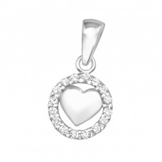 Heart - 925 Sterling Silver Pendants with Zirconia stones A4S36742