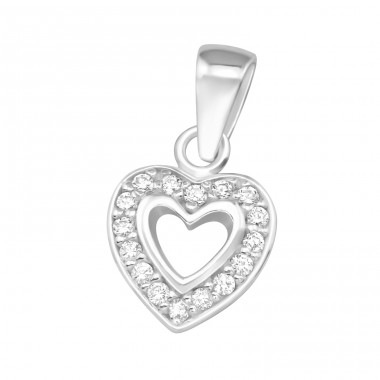 Heart - 925 Sterling Silver Pendants with Zirconia stones A4S36853