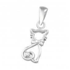 Cat - 925 Sterling Silver Pendants with Zirconia stones A4S36854