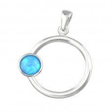 Round - 925 Sterling Silver Pendants with Zirconia stones A4S36859