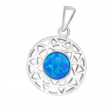 Round - 925 Sterling Silver Pendants with Zirconia stones A4S36861