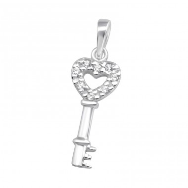 Heart Key - 925 Sterling Silver Pendants with Zirconia stones A4S37100